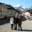 The author and her friends, Esther and Melanie, exploring the village of Gruyeres, Switzerland.